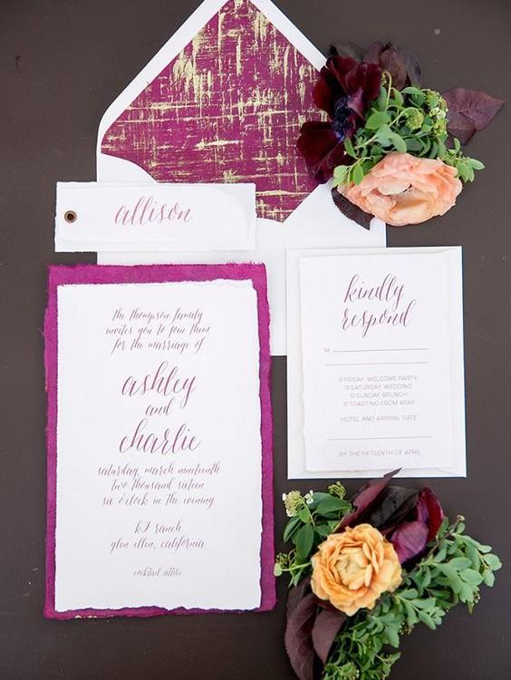 invitaciones color vino para bodas